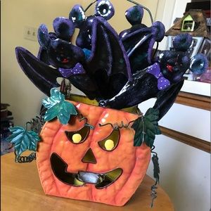 Halloween Pumpkin with Flying Bats